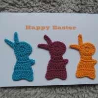 Crochet Bunnies Happy Easter Card BRY thumbnail