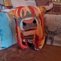 Decorative Stuffed Highland Cow Shaped Pillow Cushion thumbnail