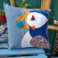 Decorative Scottish Puffin Pillow Cushion thumbnail