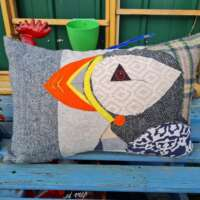 Decorative Scottish Puffin Pillow Cushion Oblong thumbnail