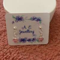 Pink Heart Dangly Sterling Silver Earrings thumbnail