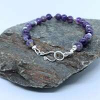 Amethyst and Sterling Silver Beaded Bracelet thumbnail