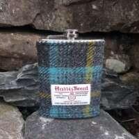 8oz Hip Flask with Grey Check Harris Tweed Sleeve thumbnail