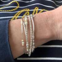 Sterling Silver Stretch Bracelet with Gold Stardust Beads thumbnail