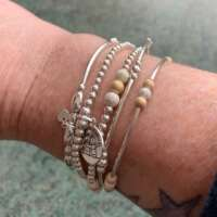 Sterling Silver Stretch Bracelet with Silver Stardust Beads thumbnail