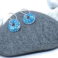 Turquoise and White Enamel Earrings thumbnail