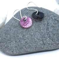 Fuchsia and White Enamel Earrings thumbnail