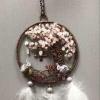Copper Dream Catcher with Rose Quartz Gemstones thumbnail