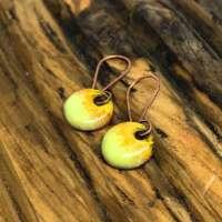 Light Green and Yellow Enamel Earrings thumbnail
