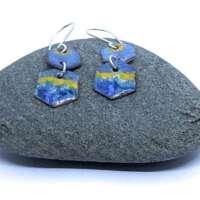 Beach Hexagon Enamel Earrings thumbnail