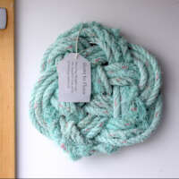 Sea-Ravaged Wall-Hanging Mat in Turquoise with Pink Fleck thumbnail