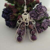 Purple Jasper and Amethyst Drop Earrings thumbnail