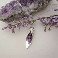 Handcrafted Silver Slipper Pendant with Amethyst thumbnail