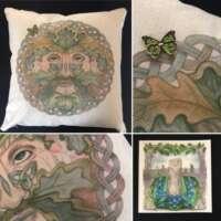 Green Man Cushion Cover and Card Set thumbnail