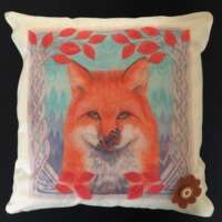 Red Fox and Red Admiral Cushion Cover and Card Set thumbnail