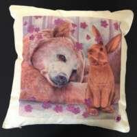 Bear and Bunny Cushion Cover and Card Set thumbnail
