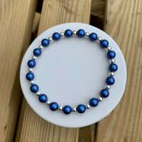 Sterling Silver and Blue Bead Stretch Bracelet thumbnail