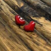 Red Heart Enamel Earrings thumbnail