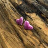 Pink Heart Enamel Earrings thumbnail