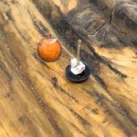 Orange Enamel Earrings thumbnail