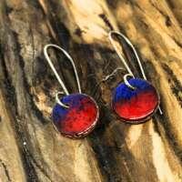 Blue and Red Disc Enamel Earrings thumbnail