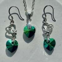 Sterling Silver Stone Heart Jewellery Set thumbnail