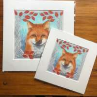 Red Fox and Red Admiral Mounted Print thumbnail
