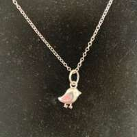 Child Bird Charm Silver Necklace thumbnail