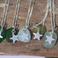 Sterling Silver Clear Sea Glass Star Charm Necklace thumbnail