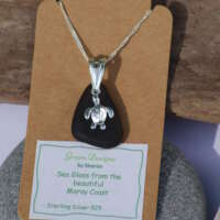 Sterling Silver Green Sea Glass Turtle Charm Necklace thumbnail