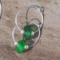 Sterling Silver Green Sea Glass Hoop Earrings - 20mm thumbnail