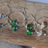 Sterling Silver Green Sea Glass Hoop Earrings - 30mm thumbnail