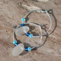 Sterling Silver Clear Sea Glass Hoop Earrings - 30mm thumbnail