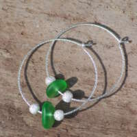 Sparkly Sterling Silver Green Sea Glass Hoop Earrings - 20mm thumbnail