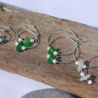 Sparkly Sterling Silver Green Sea Glass Hoop Earrings - 30mm thumbnail