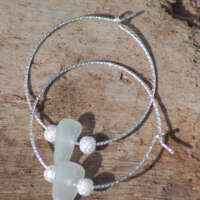 Sparkly Sterling Silver Clear Sea Glass Hoop Earrings - 20mm thumbnail