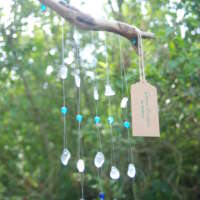 Five Strand Sea Glass and Driftwood Mobile thumbnail