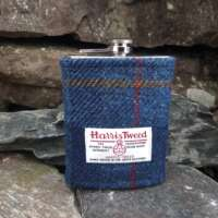 8oz Hip Flask with Blue Check Harris Tweed Sleeve thumbnail