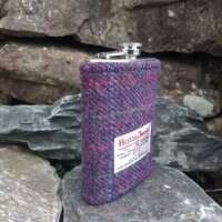 8oz Hip Flask with Purple Check Harris Tweed Sleeve thumbnail