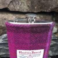 8oz Hip Flask with Fuchsia Check Harris Tweed Sleeve thumbnail