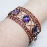 Antiqued Copper Cuff Bracelet with Glass Beads thumbnail