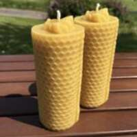 Celtic Beeswax Pair of Solid Honeycomb Bee Candles thumbnail