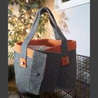 Dogtooth Check Handbag and Purse Orange Trim thumbnail