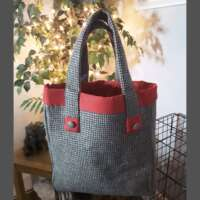 Dogtooth Check Handbag and Purse Red Trim thumbnail