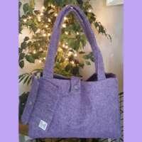 Lilac Herringbone Harris Tweed Handbag and Purse thumbnail