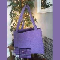 Purple Check Curve Harris Tweed Handbag and Purse thumbnail