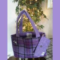 Purple Harris Tweed Handbag and Purse thumbnail