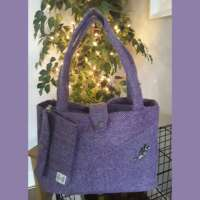 Purple Herringbone Harris Tweed Handbag and Purse thumbnail