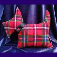 Scottie Dog Cushion with Heart Button (Wide Tartan) thumbnail