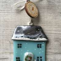 Christmas Cottage Glass Decoration thumbnail